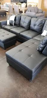 black faux leather sectional with a matching storage ottoman furniture in sacramento ca offerup