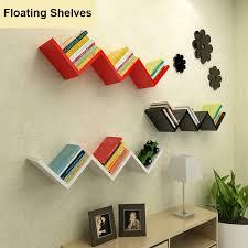 2 of 12 floating w shaped shelves bookshelf home decor wall shelf storage living room us