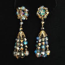 1960 s coloured crystal chandelier ear clips