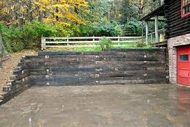 railroad ties retaining wall railroad tie retaining wall cost about stylish interior designing home ideas with