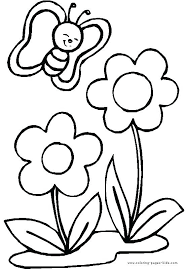 Printable Coloring Pages Of Flowers And Butterflies Simple Drawing For Kids Flowers Ellisvillepd Org
