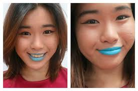 how do asians look with blue lipstick