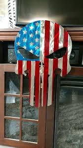 metal punisher skull american flag