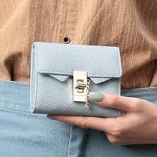 <b>Women Leather Korean</b> Cute Little Credit Card Wallet Trifold Lock ...