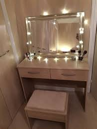 ikea malm dressing table with round mirror and lights