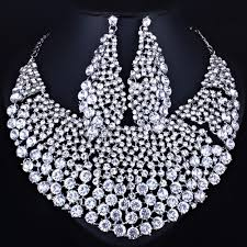 whole farlena jewelry full clear rhinestones big necklace and earrings for women indian bridal wedding jewelry sets diamond jewelry prom jewelry from