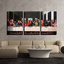 wall26 3 piece canvas wall art the last supper by andrea solari giclee modern home decor stretched and framed ready to hang 16 x24 x3 panels on large last supper wall art with amazon the last supper by leonardo da vinci canvas art wall
