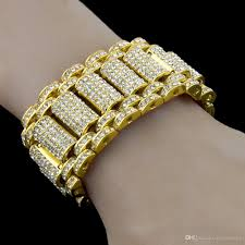 hip hop rock style simulate diamond iced out bracelets bangles for men and women bling tennis chain hip hop bracelet iced out bracelets bangles iced out