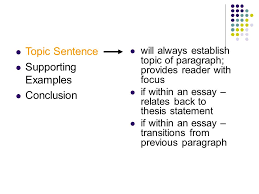 writing strong paragraphs the significant parts of an essay ppt  7 topic sentence supporting examples conclusion