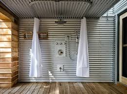 corrugated metal shower