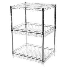 3 tier basket wire shelving units starter unit header 54 high 63 high