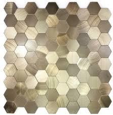 enchanted metals wall backsplash hexagon 12 x 12 l and stick metal mosaic tile