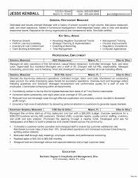 General Manager Resume Template Valid Hotel General Manager Resume