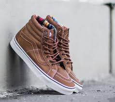 vans sk8 hi reissue leather brown guate