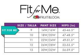 Fruit Of The Loom Sleep Pants Size Chart