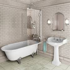 ideas bathroom with clever roll top bath with two straight edges so no shower leaks