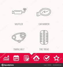 Tire Thickness Chart Tire Tread Car Mirror And Timing Belt Icons Stock Vector