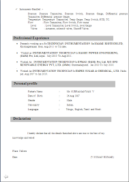 Iti Electrician Resume Format - Starengineering