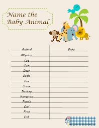 Free Printable Name the Baby Animal Game for Baby Shower
