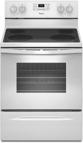 white electric range. Whirlpool WFE515S0EW 30 Inch Freestanding Electric Range With AccuBake, FlexHeat, SteamClean, Counter Depth, 4 Smoothtop Elements, 5.3 Cu. Ft. White O