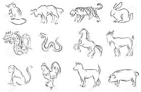 professional brush painting set of chinese twelve zodiac signs create by vector stock vector