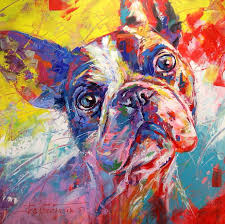 french bulldog acrylic on canvas 120cmx120cm by artist jos coufreur jos