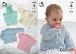 Crochet Baby Sweater Pattern Cool King Cole DK Baby Cardigan Hooded Gilet Sweaters Crochet Pattern 48
