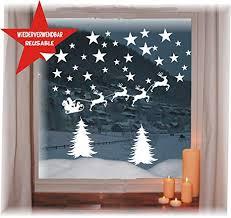 Das Label Wiederverwendbare Winterliche Fensterbilder Weiß Weihnachten Fensterdeko Konturgetanzt Ohne Transparenten Hintergrund