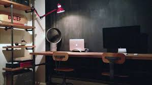office design inspiration. Industrial Long Wall Desk Small Home Office Design Inspiration For Men