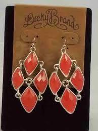 lucky brand silvertone abstract faceted set stone chandelier earrings jlru7167