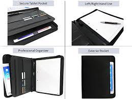 exec zipper leather portfolio binder padfolio folder professional business meeting folio interview