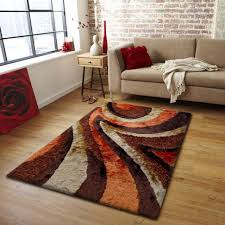 Plush Bedroom Area Rug In Brown and Orange