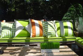 Indoor/Outdoor Fabrics. Bright lime green cushions ...