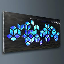 blue metal wall art metal wall art led back lighted blue navy blue black frame cube blue metal wall art