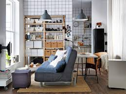 modern dorm room with multifunctional furniture and futon