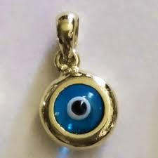 9ct yellow gold evil eye heart pendant