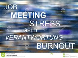 Words For Meeting Job Meeting Stress Geld Verantwortung Burnout Stock
