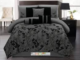 bedroom picturesque black and gray bedding sets ideas with flower motif the elements in