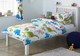 children s dinosaur single duvet cover bed set inc pillowcase white orange green blue co uk kitchen home
