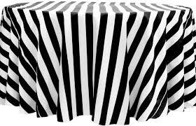 stripe 132 satin round tablecloth black white