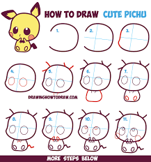 drawing lesson for kids and beginners how to draw cute kawaii chibi pichu from pokemon in easy step by step