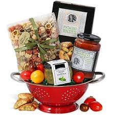italian gift basket with keepsake colander