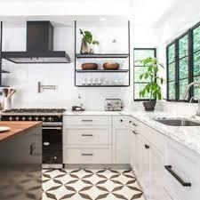 White tile flooring kitchen Glossy Transitional Kitchen Pictures Kitchen Transitional Lshaped Cement Tile Floor And Multicolored Floor Houzz Black And White Tile Floor Kitchen Ideas Photos Houzz