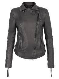 reval grey leather biker jacket