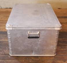 american vintage industrial aluminium metal box storage trunk coffee table chest for