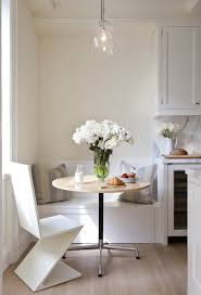 White Breakfast Nook Breakfast Nooks Round Table With Blue Chairs White Wood Floor