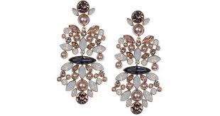 lyst givenchy rose goldtone vintage rose blush chandelier earrings in pink