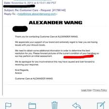 Email Exchange Between Me And Alexander Wang Customer