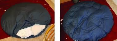 stuffing and sewing a papasan cushion