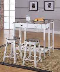 Rave 3 Piece White Marble Top Wood Contemporary Kitchen Dinette Breakfast Pub Set Folding Drop Down Table 2 Stools 2 Storage Drawers